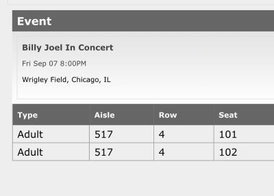 Billy Joel at Wrigley Field this Friday!! 2 tickets.