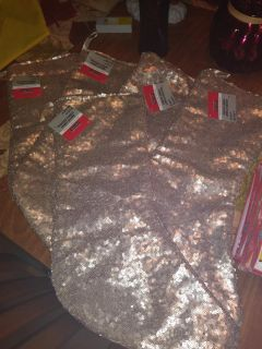 New Gold Sequin Frosted Forest Stocking s