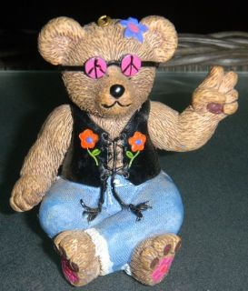 Claire's 1997 Peace Bear Ornament Figurine / Resin Hippie