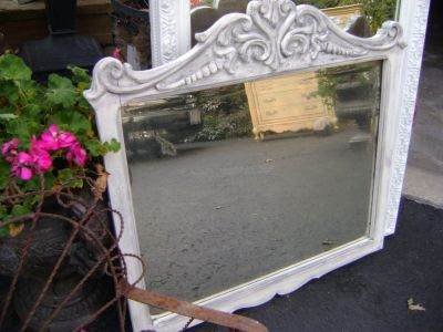 carved vintage mirror grey washed