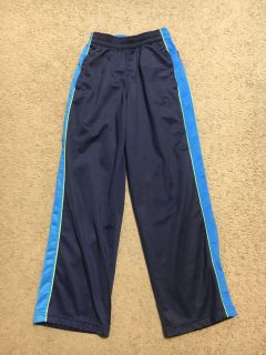 Navy blue with blazer blue and green stripes on sides boys athletic pants size Youth large