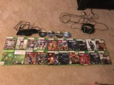 XBOX 360 w/24 games, headset, Kinect and 2 wireless controllers