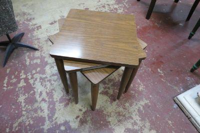 SALE! Vintage MCM set of 3 walnut stacking tables