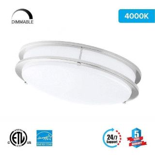 LED Double Ring 12in. Flush Mount - 14 Watt - Dimmable - 4000K - 1100