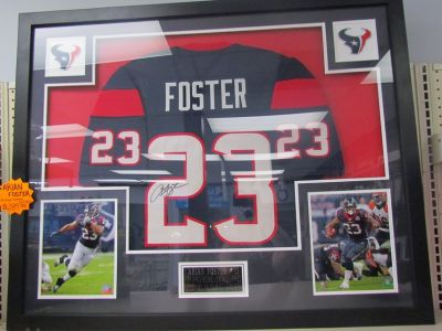 NFL Texans Arian Foster Autographed Jersey, Framed with COA