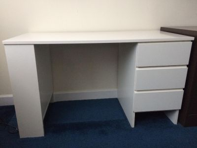 White 3 drawer desk with built in bookcase