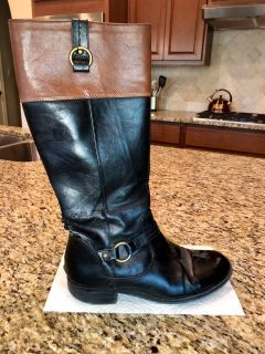 Size 8 Black/Brown Riding Boots