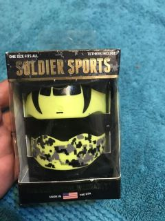 NIP Soldier Sports 2pk Yellow Fang/Camouflage mouth guards. One size fits all.