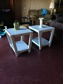 Lightly Distressed Wood Matching End Tables