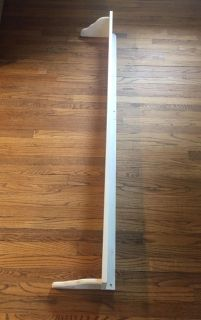 """67"""" White Wood Wall Shelf. Perfect for above a window or doorway. Added pics for inspiration. CP"""