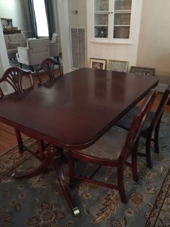 Antique dining room table with 6 chairs and two 12 leaves. 60 x 42 as pictured w/o leaves