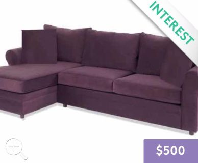 ~Roll Arm 2-pc, Right Arm Chase/Sofa Sectional in the Color Grape~
