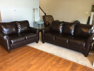 Leather Couch Sofa & Loveseat