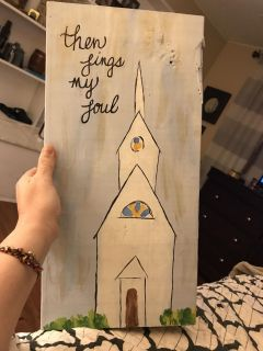 18 inches tall 12 inches wide painted wooden picture