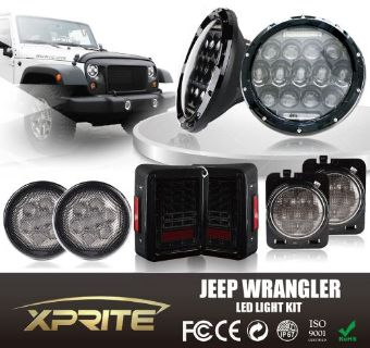 "Buy 7"" 75W CREE LED Headlights Turn Signal Side & Taillight Smoke Combo 07-16 Jeep motorcycle in Rowland Heights, California, United States, for US $395.95"