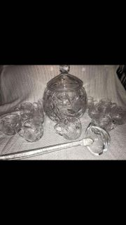Antique American cut 3/8 inch punch bowl set Valuable selling on eBay between $350-$500