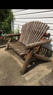 Outdoor furniture, wood wooden bench seat log cabin patio deck porch