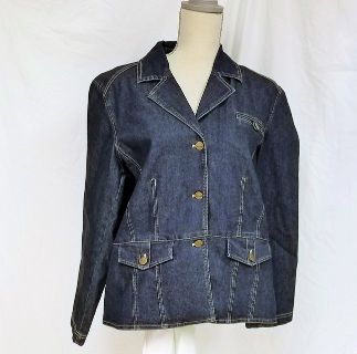 Cappagallo sz 12 Women's Blue Jean Jacket Blazer Coat
