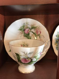 Pink Ladyslipper teacup and saucer