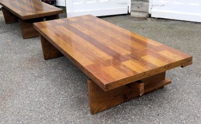 "Lane Coffee Table ~Mid Century ~Brutalist 68"" Long"