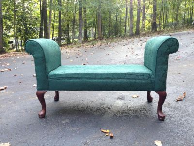 Upholstered bench, forest green