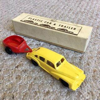 Vintage Ideal Novelty & Toy Company Yellow Plastic Car and Red Trailer w/ Box