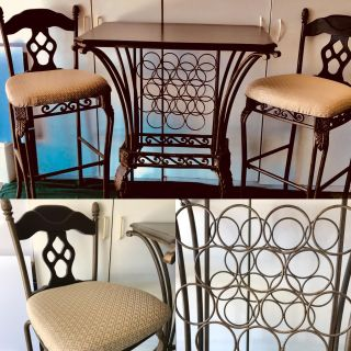 Pub Height Wrought Iron and Wood Table and Chairs. Wine rack underneath. Dark Espresso