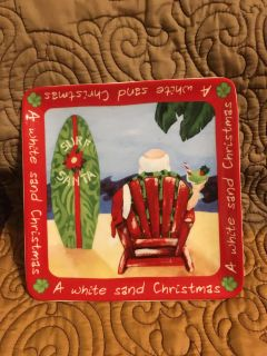Square Porcelain Surfing Santa Plate A White Sand Christmas Swap Only