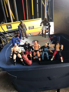 WWE action figures and wrestling rung