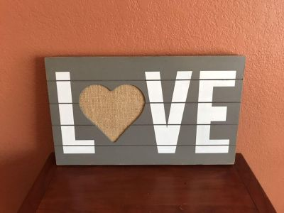 Distressed Wood Love Sign with Burlap Heart