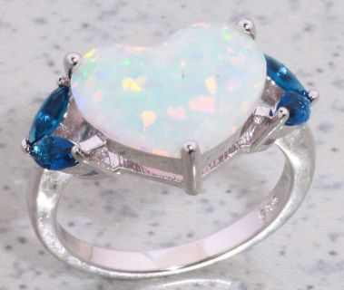 White Fire Opal Heart and Sapphire Quartz Ring - Size 7