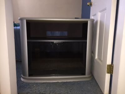 Silver and Black TV Stand