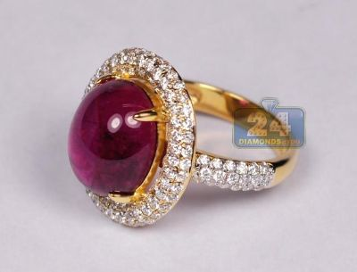 Womens Cabochon Tourmaline Diamond Ring 18K Yellow Gold