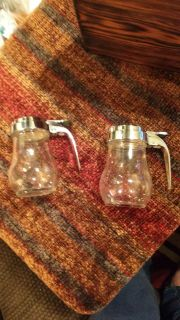 Two Small Glass Syrup/Honey/Jam Containers/Pourers - Both for $2.50