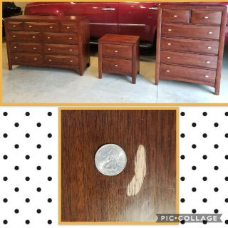 Cherry dresser, chest of drawers and nightstand