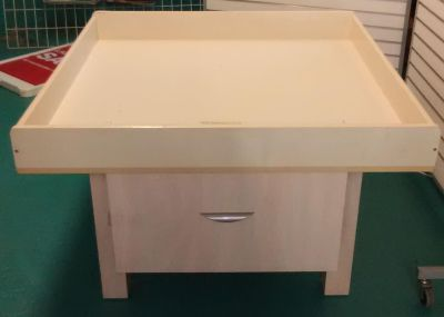 Retail table with 2 large storage drawers