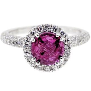 Womens GIA Pink Sapphire Diamond Solitaire Ring 18K Gold