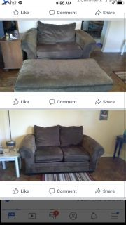 Large chair w ottoman and love seat