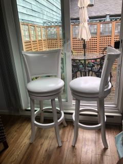 Quality white wooden bar stools (2)