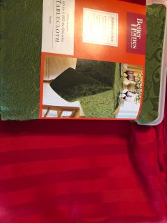 Holiday Table Clothes Red Stipe and Green Paisley New