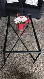 Glass Coffee Table with Black Metal Frame