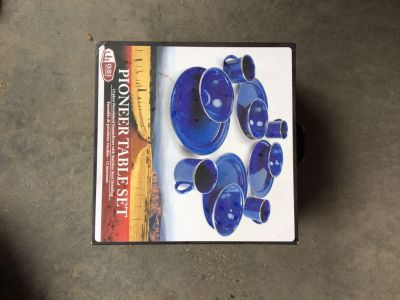 Camping dishes - porcelain enamel ware with steel detailing