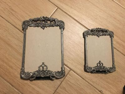 2 Pretty Matching Pewter Picture Frames NO GLASS
