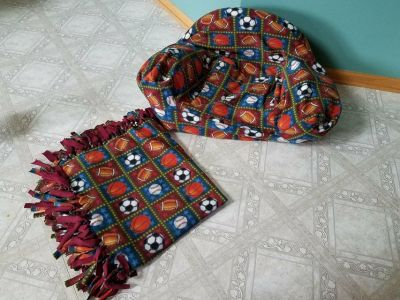 Handmade Toddler Boys' Comfy Chair and Matching Blanket Set