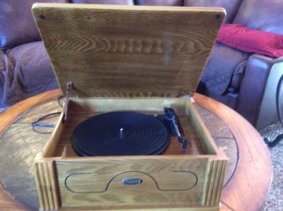 LIKE NEW RECORD PLAYER - REPLICA OF OLD TIME RECORD PLAYER - WORKS GOOD