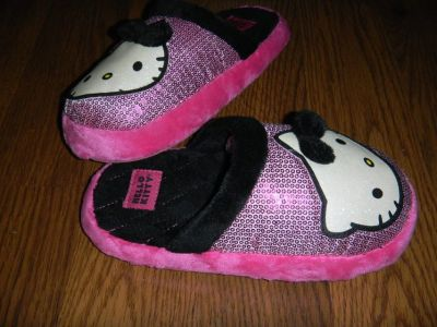 Hello Kitty Sparkly Sequined Girls Large 4-5 Slippers