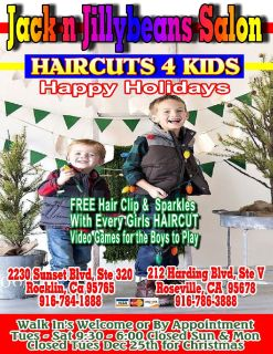 Holiday HAIRCUTS 4 Kids 916-786-3888