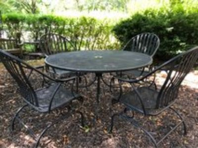 : ) LARGE BLACK WROUGHT IRON PATIO SET from Million Dollar Home !!