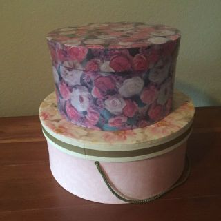 Lot of 2 pretty floral hatboxes storage boxes