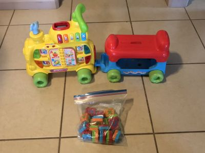 VTech Sit-to-Stand Alphabet Train W/ Double Sided Blocks Baby to Toddler Ride On